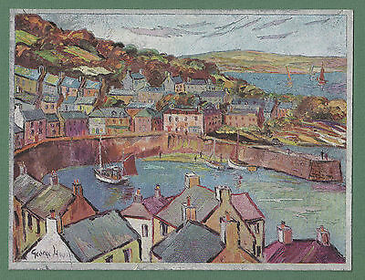 1960's Large Foil Effect Postcard Of Mousehole In Cornwall