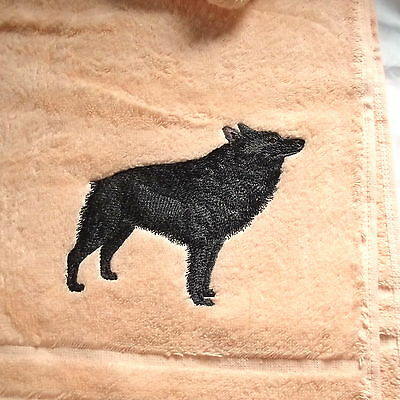 Schipperke Dog Embroidered Bath Towel, Dog Gift, Embroidery,