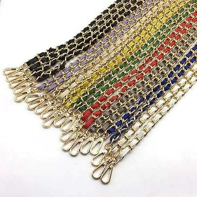 """51""""/130CM Gole CHAIN SHOULDER BAG STRAP CLIP-ON PU LEATHER BAND REPLACEMENT N"""