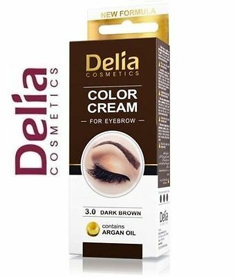DARK Brown DELIA HENNA CREAM Eyebrow Eyelashes Professional Colour Tint Kit Set