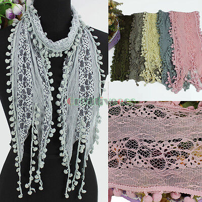 Women's Fashion Scarf Pom-Pom Tassel Lace Sheer Solid Color Long Scarf Shawl New