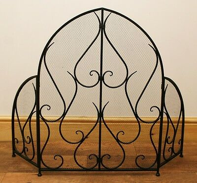 Arched Ornate Metal Fire Screen / Fireplace Guard - Black