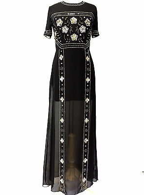 BLACK Maxi Dress Gem Sequin Embellished Bridesmaid Party Prom Gown Size 8-24