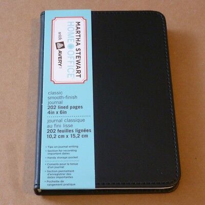 "MARTHA STEWART® 14855 Classic Smooth Finish Journal 4"" x 6"" 202 Lined Page Black"