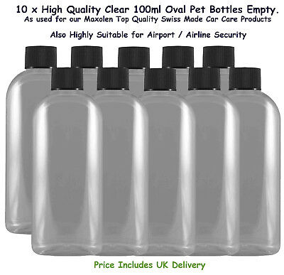 Bottles 100ml Clear PET Oval Empty with Screw Caps x 10 Airport Airline Security