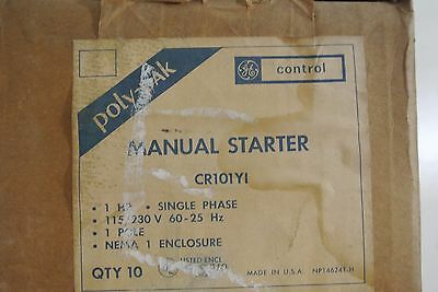GE General Electric Box of 10 Single Pole Manual Starters Cat: CR101Y1
