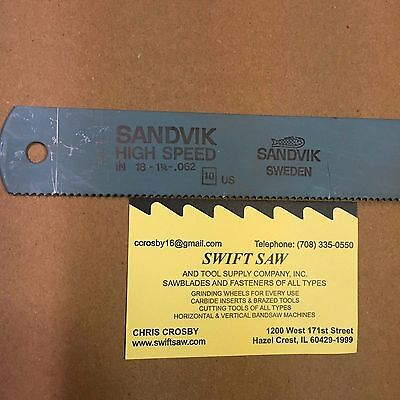 "10Pcs- 18"" X 1-1/4"" X .062 X 10T Power Hack Saw Blade Sandvik High Speed Steel"