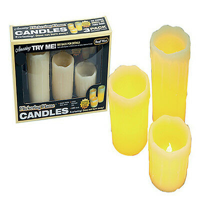 LED Pack of 3 Pillar Candles With Flickering Flame Smokeless Real Wax Long Life
