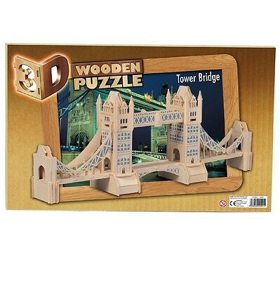 London Tower Bridge Woodcraft Construction Kit. 3D Wooden Plywood puzzle.