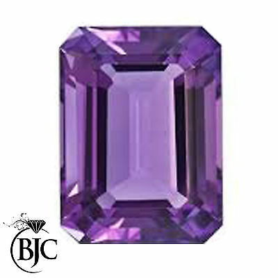 BJC® Loose Emerald Cut Bright Purple Colour Amethyst Stone 100% Natural Stones
