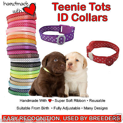 10 Spots Whelping ID Puppy Kitten Collars Super Soft Ribbon Adjustable 4 Sizes