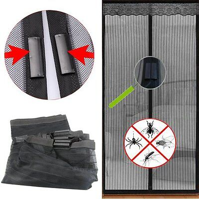 Black Window Screen Door Mesh Net Insect Fly Bug Mosquito Magnetic Curtain FP5
