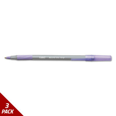 Round Stic Grip Xtra Comfort Ballpoint Pen Purple Ink 1.2mm Med. 12ct [3 PACK]