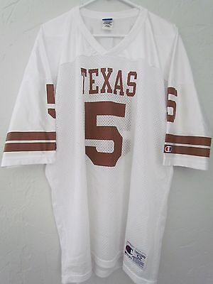 Texas Longhorns Ncaa Vintage White Champion Player Jersey Number 5 Size 52 Euc!