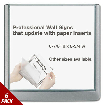 Durable Click Sign Holder For Interior Walls 6 3/4 x 5/8 x 6 7/8 Gray [6 PACK]