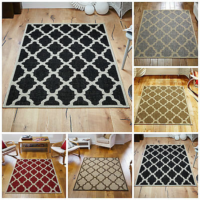 New Trellis Flatweave Modern Rugs and Runners With Anti slip Backing