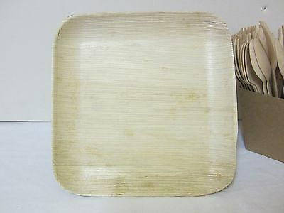 "300 Pack BULK BUY SQUARE PLATES PALM LEAF PLATE DINNER WOOD PLATE 20cm - 8"" x 8"""