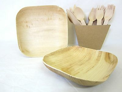 "100 Pack BULK BUY SQUARE BOWL PALM LEAF SIDE BOWL WOODEN 15cm - 6"" x 6"""