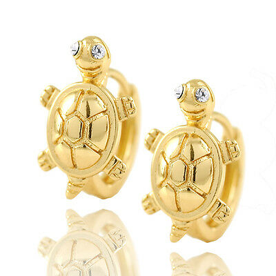 Girls Jewelry Kids Solid Yellow Gold Filled Crystal Eye Tortoise Hoop Earrings
