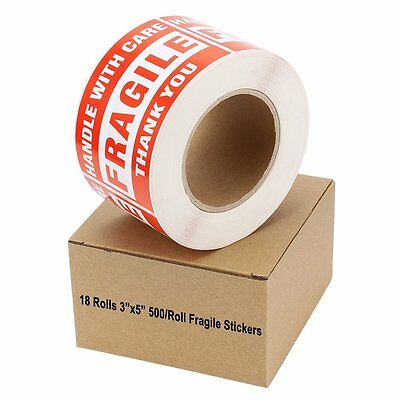 18 Rolls 3x5 FRAGILE HANDLE WITH CARE Stickers 500/Roll Easy Peel and Apply