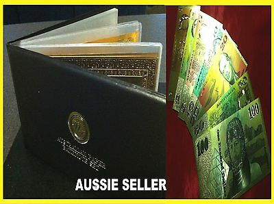 7 24kt COLOUR GOLD ALBUM BANKNOTE AUST PAPER NOTE $1 $2 $5 $10 $20 $50 $100 GIFT