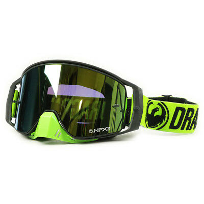 Dragon NEW Mx NFX2 Break Green Injected Ionized Gold Tinted Motocross Goggles