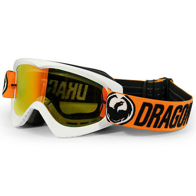 Dragon NEW Mx MDX Flash White Orange Ionized Red Tinted Motocross Goggles