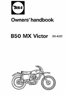 1972 BSA B50 MX Victor instruction book