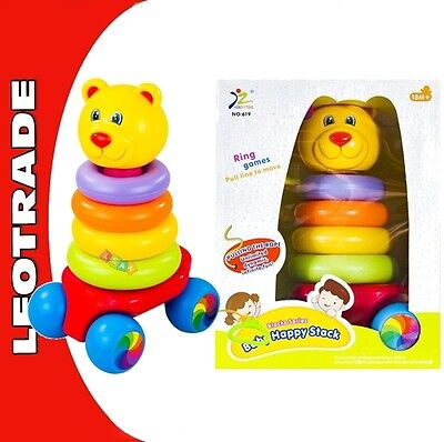 Pull Along Baby Toddler Toy Stacking Rings Pyramid Stacker Colourful Bear