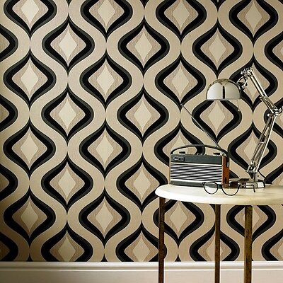 Trippy Retro Vintage Style Taupe and Charcoal Wallpaper
