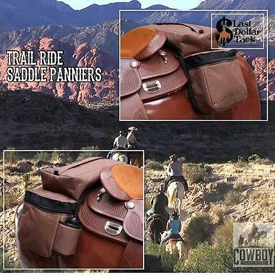 Western Saddle Trail Ride Panniers ~ 3 Large Bags -Water Bottle ~ Robust Cordura
