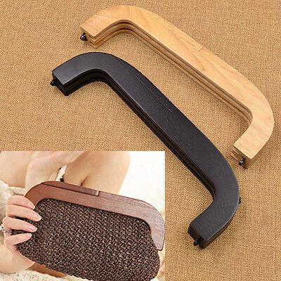 1pc Wooden Bag Purse Handle Openable Handle Replacement Handmade Craft DIY Black
