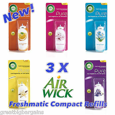 """3 x AIRWICK FRESHMATIC COMPACT REFILLS _ CHOOSE FRAGRANCE - NEW """"PURE"""" SCENTS"""