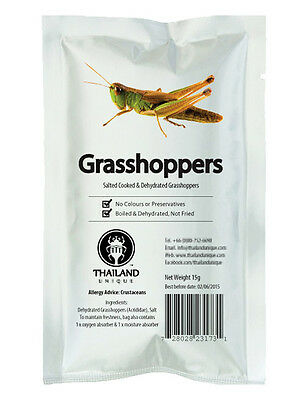 Edible Dehydrated Grasshoppers Salted (Orthoptera) Exotic Insects Bugs Thai Food