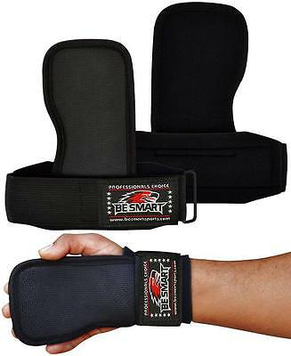 Weight Lifting Gym Hand Grips Palm Gel Pad Wrist Support Straps Training Gloves