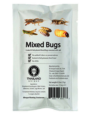 Edible Dehydrated Mixed Bugs With Salt, Exotic Insects Thai Food