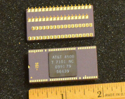 AT&T 7101 Vintage Gold and purple ceramic communications chip