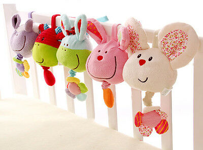 Baby Infant Musical Animal Bed Crib Bell Cot Rattle Stroller Handbells Soft Toys