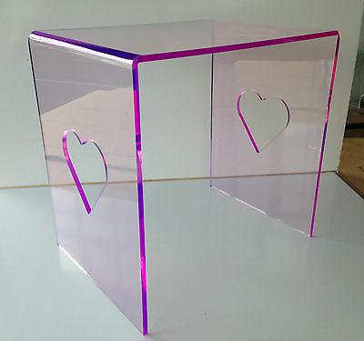 8mm Pink Purple Acrylic Plastic Heart Cut Out Girls' Boys' Bedroom Bedside Table