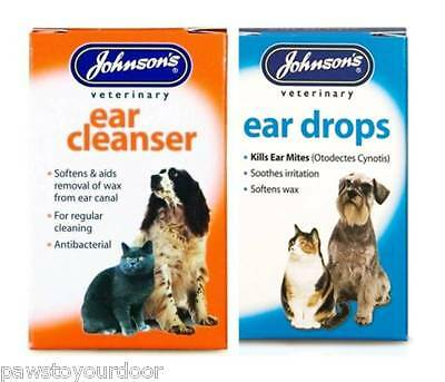 Dog Cat Johnsons Ear or Cleanser Drops Kills Ear Mites - Softens Waxs treatment