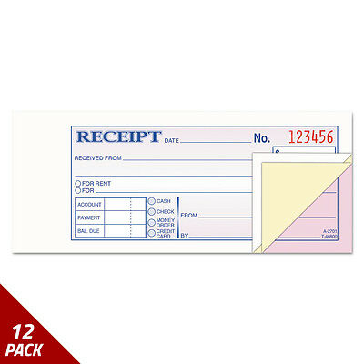 Adams Receipt Book 2 3/4 x 7 3/16 Three-Part Carbonless 50 Forms [12 PACK