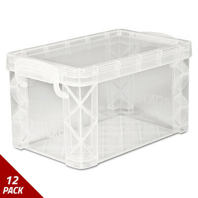 Super Stacker Storage Boxes Hold 400 3x5 Cards Plastic Clear [12 PACK