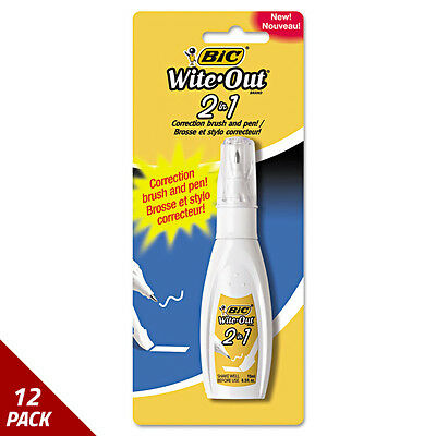 BIC Wite-Out 2 in 1 Correction Fluid 15 ml Bottle White [12 PACK