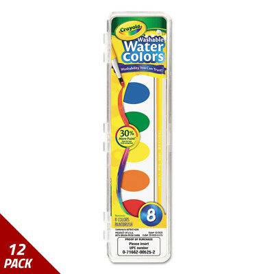 Crayola Washable Watercolor Paint 8 Assorted Colors [12 PACK