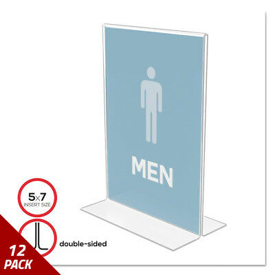 deflecto Stand-Up Double-Sided Sign Holder Plastic 5 x 7 Clear [12 PACK