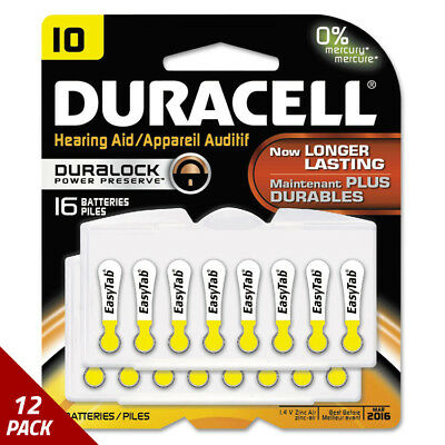 Duracell Button Cell Hearing Aid Battery10 16/Pk [12 PACK