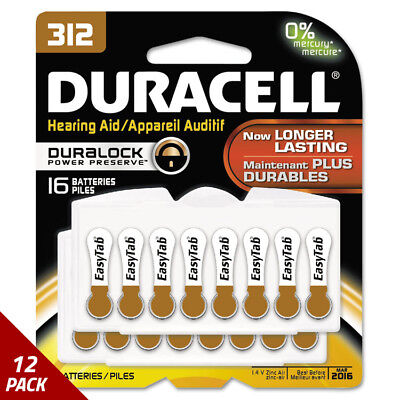 Duracell Button Cell Hearing Aid Battery 312 16/Pk [12 PACK