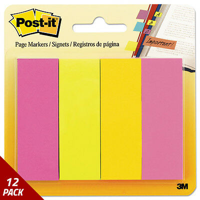 Post-it Page Flag Markers Assorted Brights 50 Strips/Pad 4ct [12 PACK