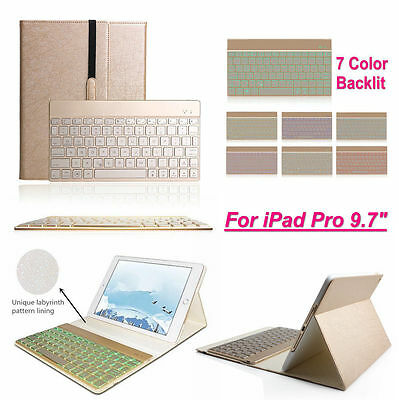 "Apple iPad Pro 9.7"" Colorful Backlit Bluetooth Keyboard Leather Case Smart Cover"