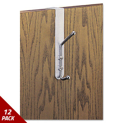 Over-The-Door Double Coat Hook Chrome-Plated Steel Satin Aluminum Base [12 PACK
